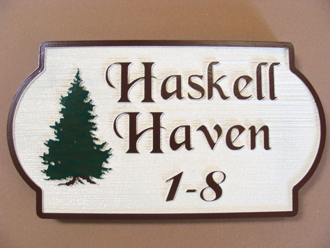 "M22094 - Spruce Cabin Name ""Haskell Haven"" Sign"