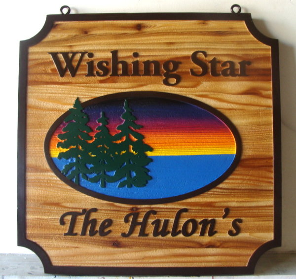 "M22310 - Carved Cedar Wood Side for Cabin ""Wishing Star"", with Lake, Setting Sun and Fir Trees"