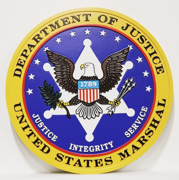 AP-2505 -  Carved 2.5-D HDU Plaque of the Seal of United States Marshal, Department of Justice