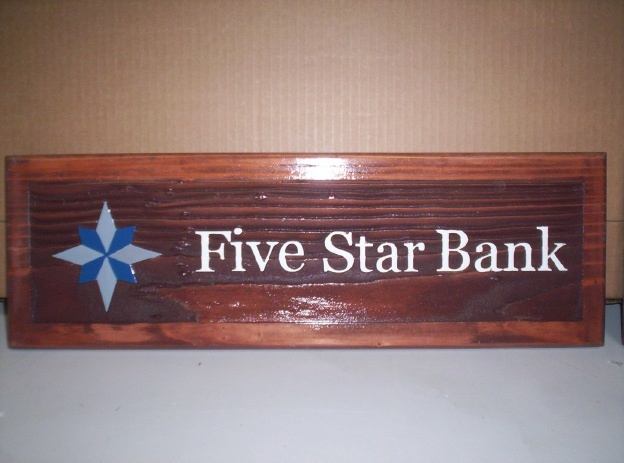 SB28805 - Carved and Sandblasted Redwood Desk Plaque for Five Star Bank.