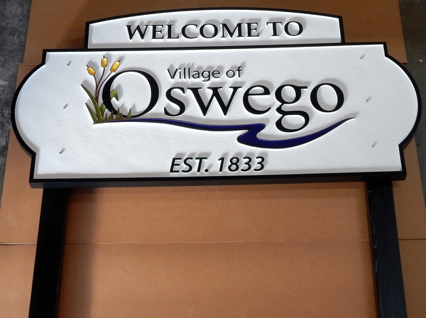 F15018 - Large Carved and Sandblasted HDU Entrance and Welcome Sign between Two Posts for the Village of Oswego, Illinois