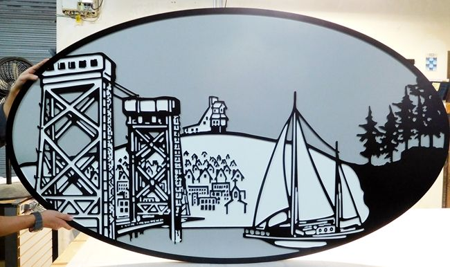 L21307 - Large Plaque of Sailboat, Bridge, and CIty on a Hill