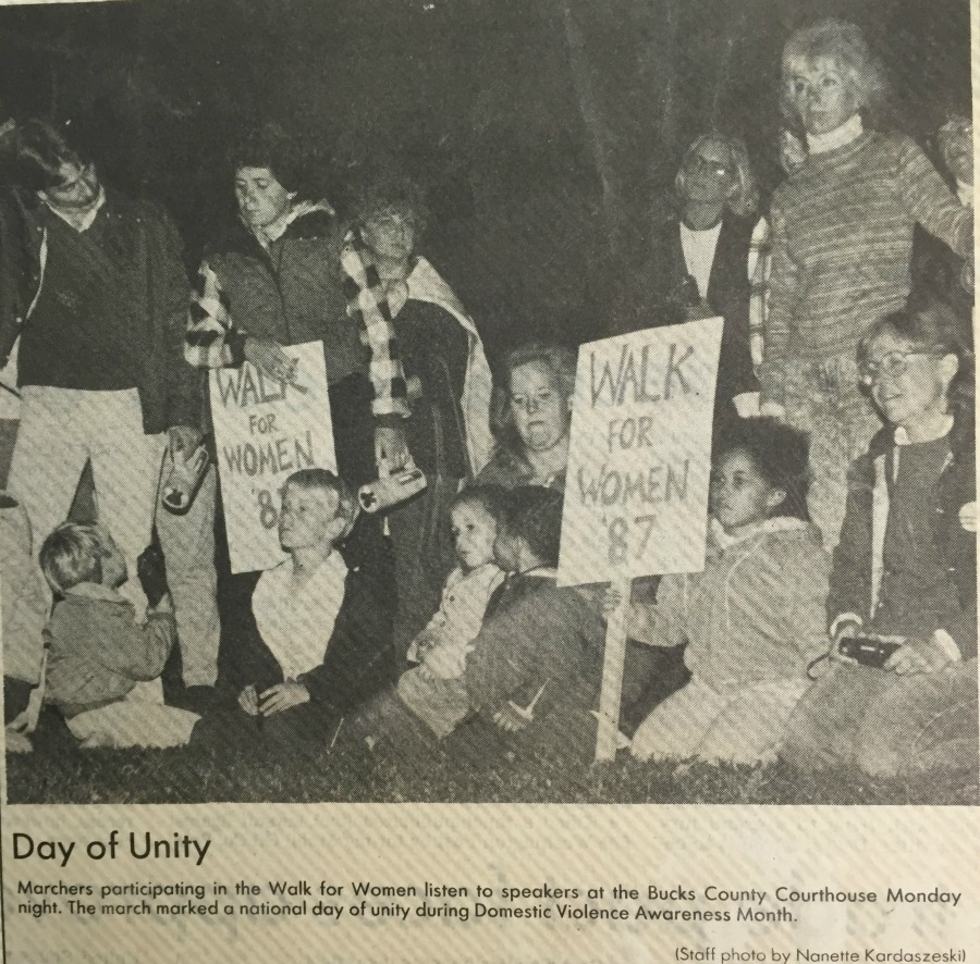 The 1987 Walk for Women on AWP's Day of Unity during Domestic Violence Awareness Month.