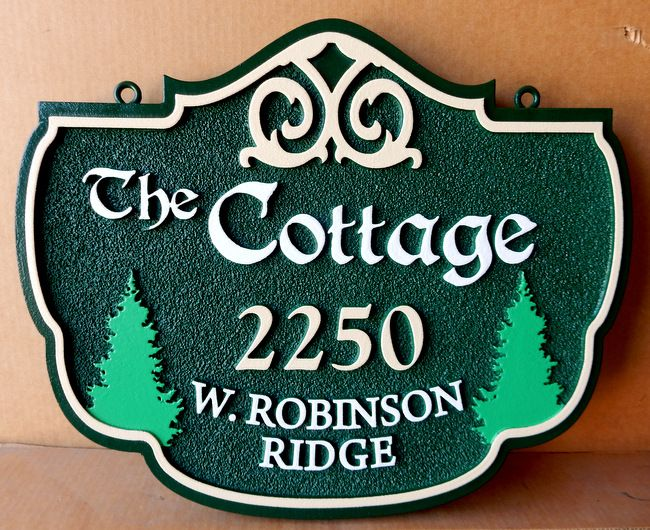 M22096- Carved Cottage Address Sign with Evergreen Trees