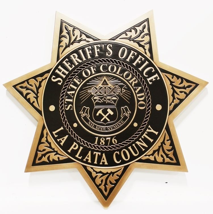 PP-1664 - Carved 2.5-D HDU Plaque of the Badge of the Sheriff's Office, La Plata County, State of Colorado