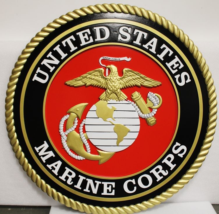 KP-1123 - Large Carved Plaque of theEmblem of the US Marine Corps, 3-D Artist-Painted