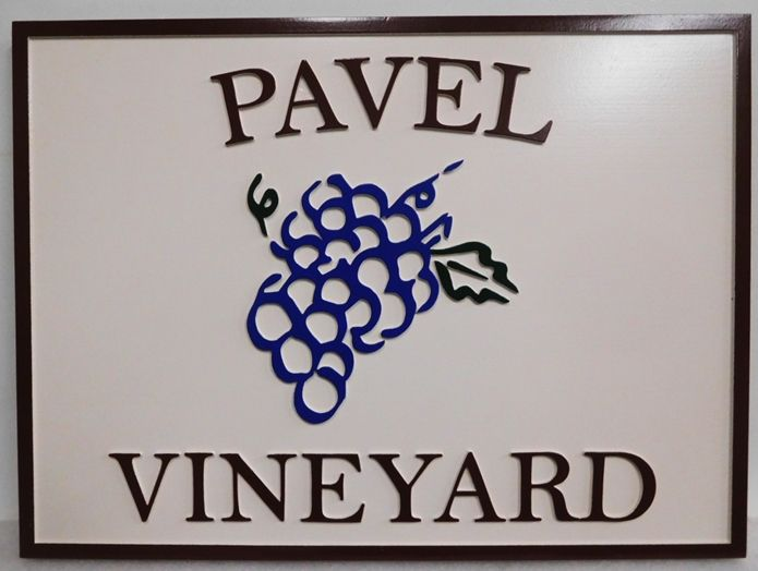 "R17025 - Entrance Sign for  ""Pavel Vineyard""  with s a Carved 2.5-D Raised Outline raised Relief Grape Cluster, Text and  Border."