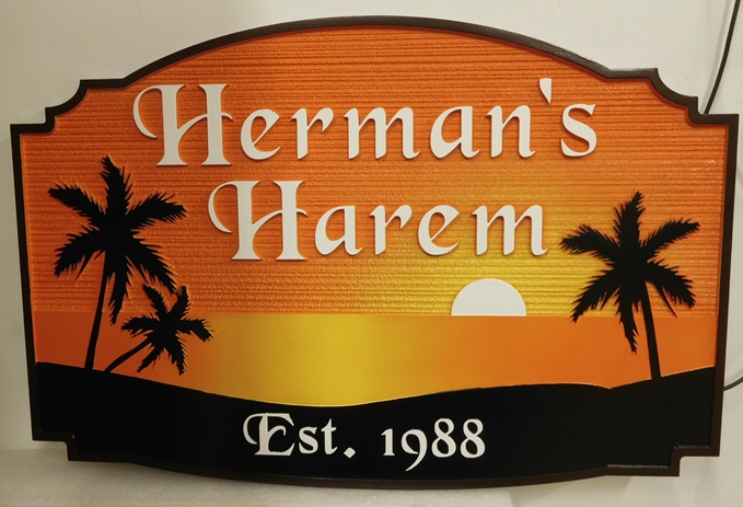 """L21223 - Seaside Residence Sign, """"Herman's Harem"""" featuring an Ocean Sunset and Silhouetted Palm Trees"""