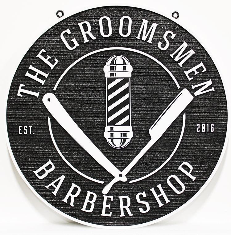 S28220 - Carved 2.5-Dand Sandblasted Wood Grain HDU  Sign for the Groomsmen Barber Shop, with Barber Pole and Razors as Artwork