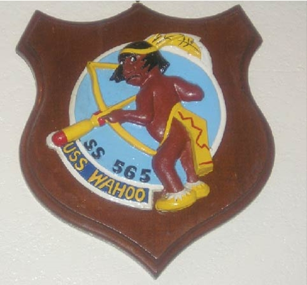 JP-2200 - Carved Shield Plaque for USS Wahoo Submarine, Artist Painted on Mahogany Wood