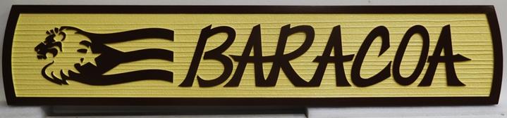 "I18847 - Carved and Sandblasted Property Name Sign ""Baracoa"""