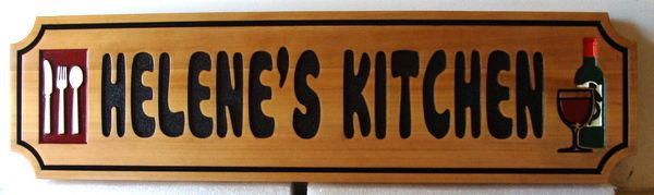 """N23112 - Carved Cedar Wall Plaque, """"Helene's Kitchen"""", with Wine and Utensils"""