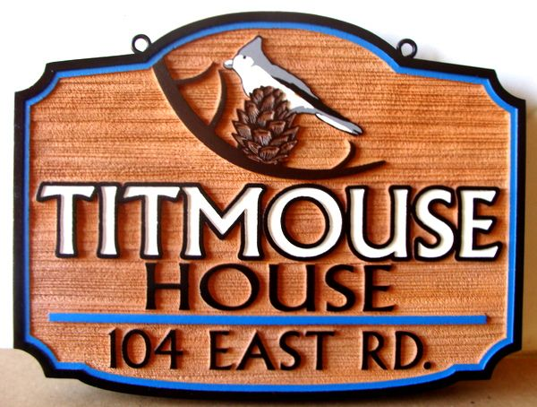 "M22800 - Carved and Sandblasted Sign for ""Titmouse House"" with Titmouse Bird and Pinecone"