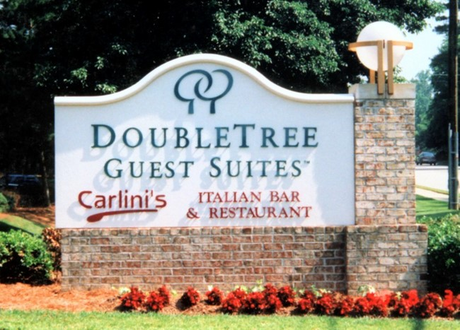 T29003 - Entrance Monument Sign for Residence Suites, Brick Base & Pillar