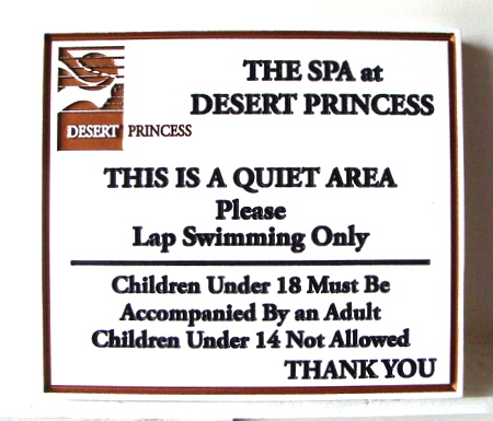 GB16210 - Engraved High-Density-Urethane (HDU)  Rules Sign for the Spa at Desert Princess Resort