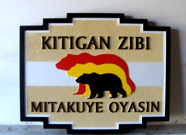 M22866 - Carved and Sandblasted HDU Cabin Sign , Three Bears, for Algonquin Nation
