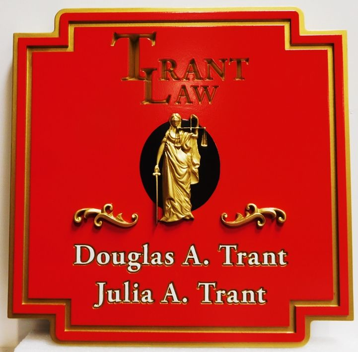 A10424 - Elegant Caved  Sign for the Trant Law Office, with 3-D Carved 24K Gold-Leaf Gilded Lady of Justice as Artwork
