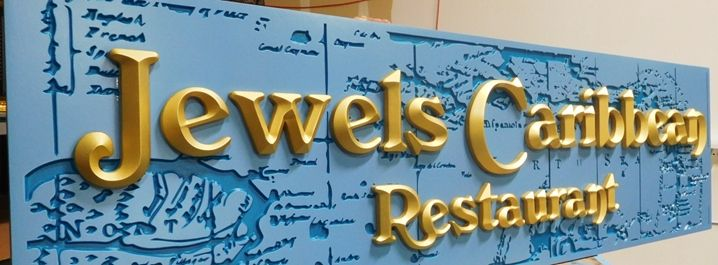 "Q25115 - Large Carved 3-D Sign for the ""Jewels Caribbean Restaurant"""