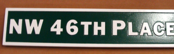 H17060 - HDU  Street Name Sign, NW 46th Place, 2.5-D Raised Relief
