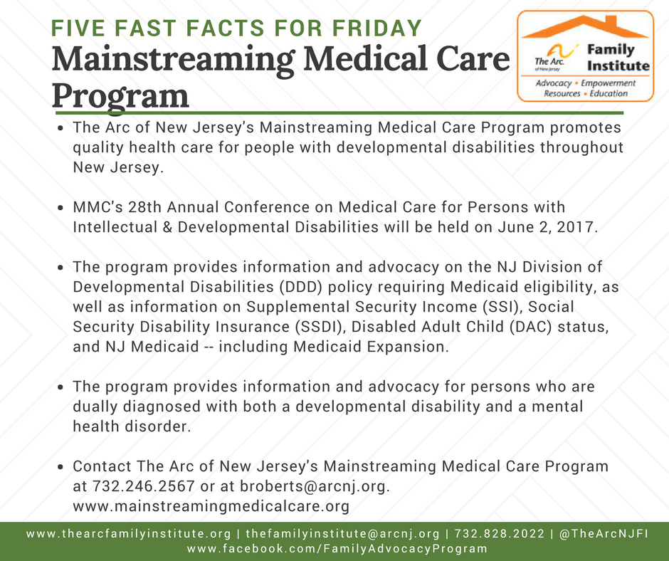 The Arc of New Jersey's Mainstreaming Medical Care (MMC)