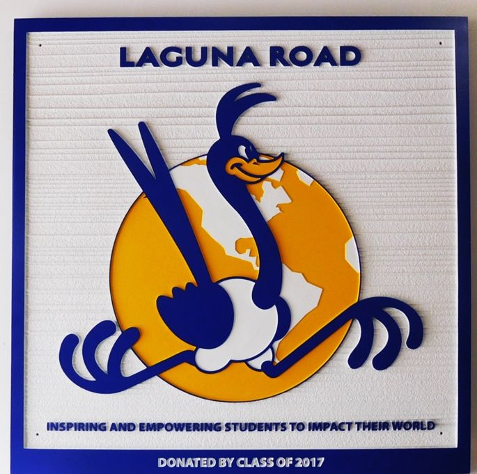 "FA16684 - Carved ""Laguna Road"" Sign, 2.5-D Multi-Level Raised Reliefm, with Roadrunner Bird and Globe as Artwork"