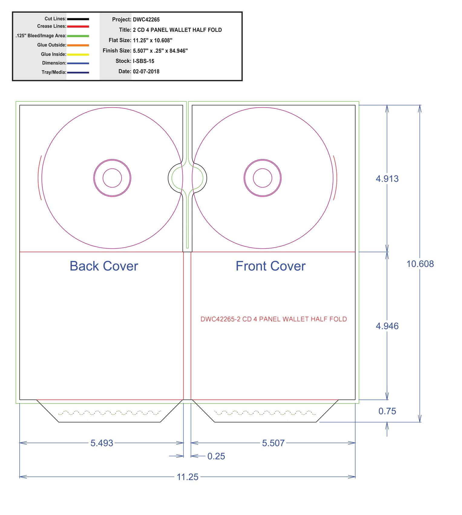 DWC42265-2 CD 4 PANEL WALLET HALF FOLD