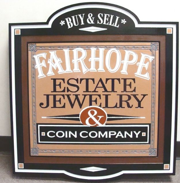 SA28301 - Engraved Sign for a Jewelry Store and Coin Company