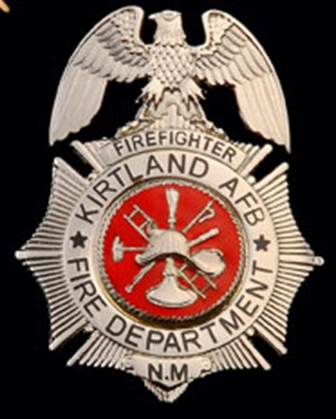 QP-1080 - Carved Wall Plaque of  the Badge of a  Fire Department Captain, Kirtland AFB, New Mexico, Nickel-Silver Plated