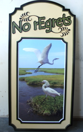 L21062 - Carved Wood Vacation Home Sign with Two Egrets