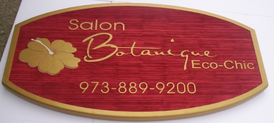 SA28429 - Carved  Sign for Salon Botanique Eco-Chic, with Plumeria Flower as Artwork.