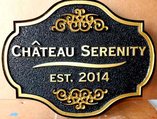 "I18104 - Carved HDU Residence Name Sign, ""Chateau Serenity"", with Ornate Shape and Decorative Flourishes 24K Gold Leaf Gilded Trim"