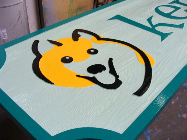 BB11771 -Large Cedar Wood Sign for a  Kennel for Dogs with Stylized Face of Dog