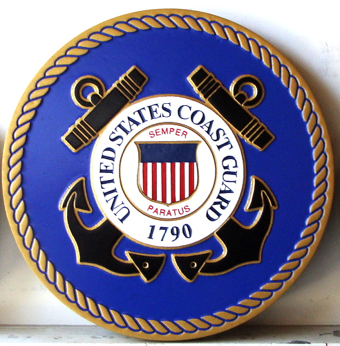 NP-1110- Carved Plaque  of the Great Seal of the US Coast Guard, Artist Painted