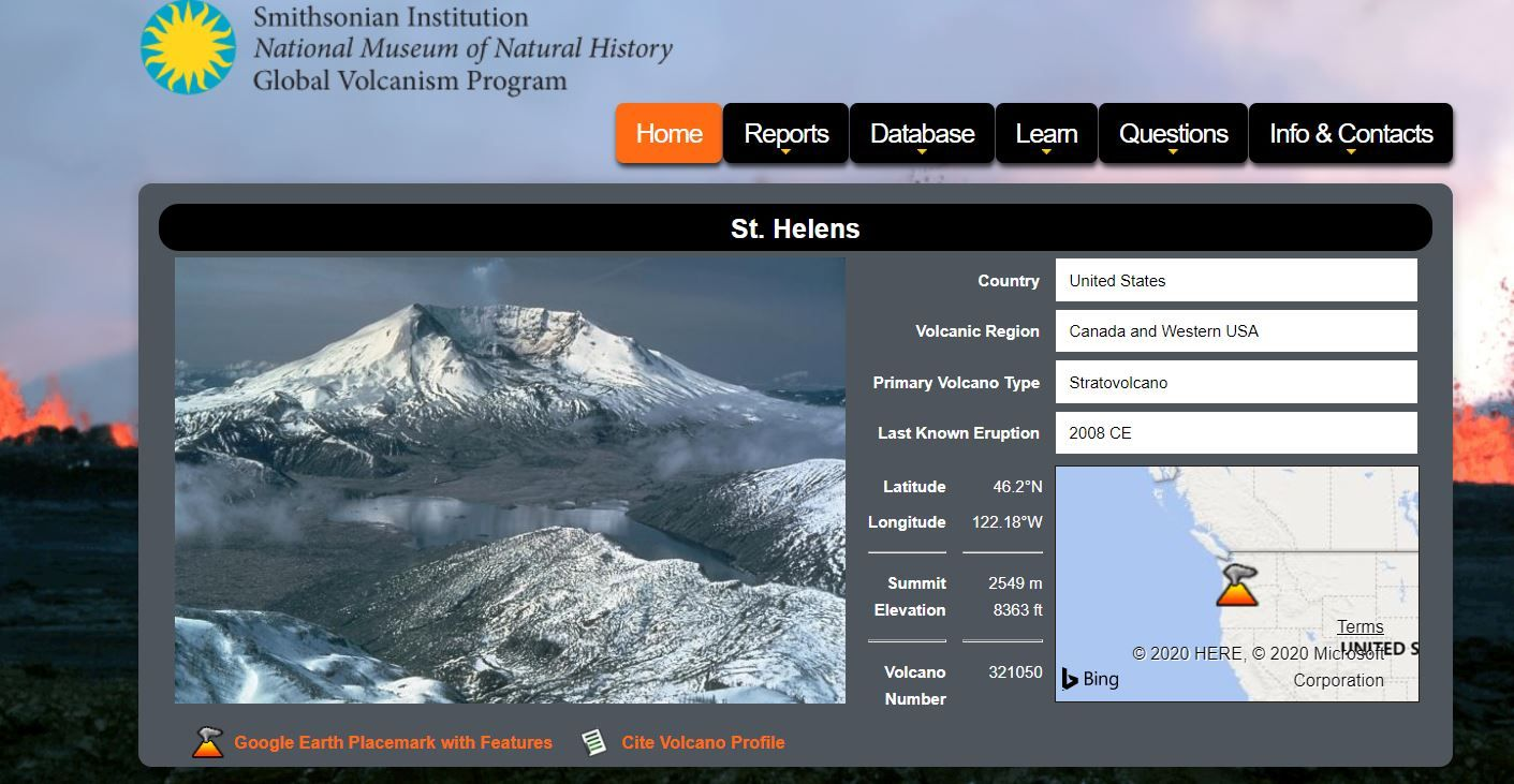 Smithsonian Institution Mount St. Helens 40th Anniversary page