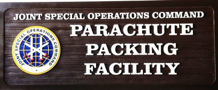 V31899 - Carved Wood Sign for Special Operations Command Parachute Packing Facility