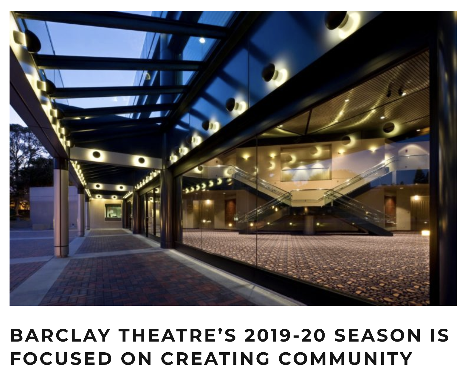 Barclay Theatre's 2019-20 Season is Focused on Creating Community