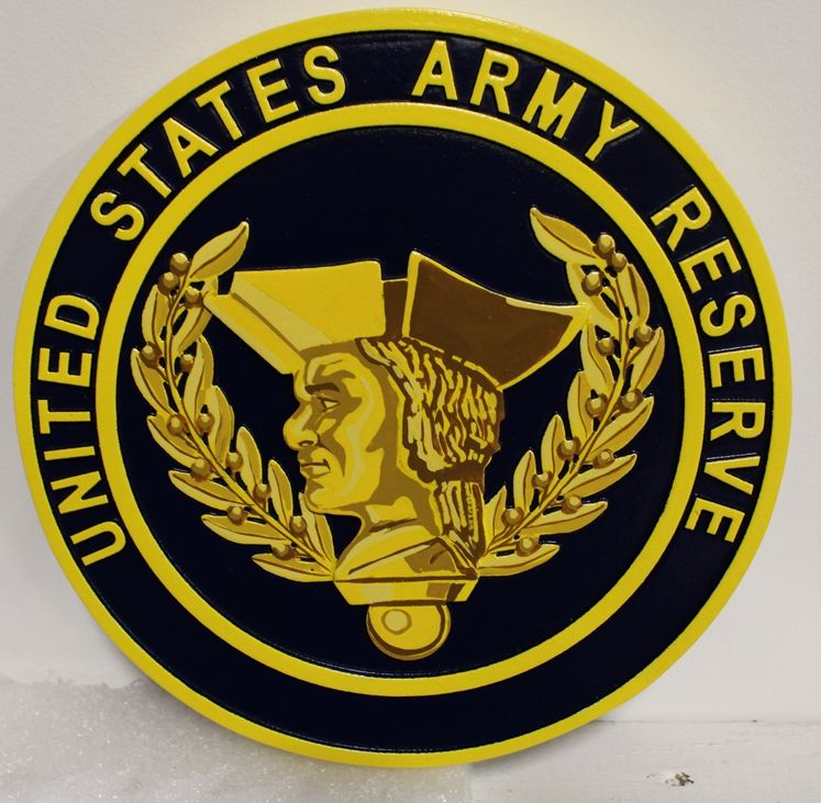 MP-1276- Carved Plaque of the Seal of the  US Army Reserve,  2,5-D  Artist Painted