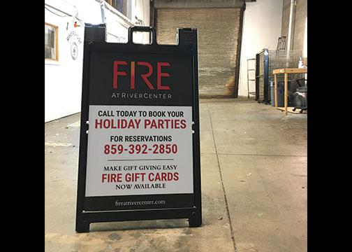 FIRE A Frame Restaurant Sandwich Board Sign