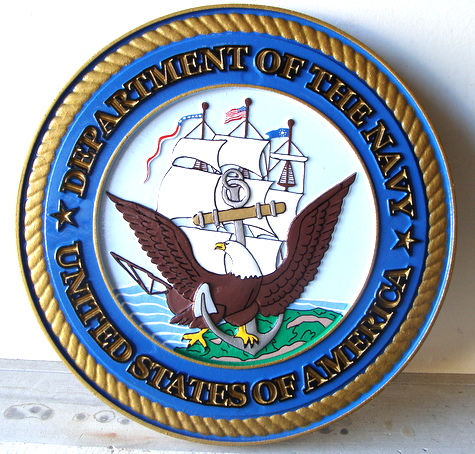 V31205 - Carved Wall Plaque of the Great Seal of the Navy (Version 2)