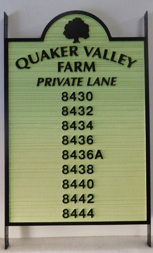 I18914 - Carved and Sandblasted High-Density-Urethane Directory Sign with Nine House Address Numbers