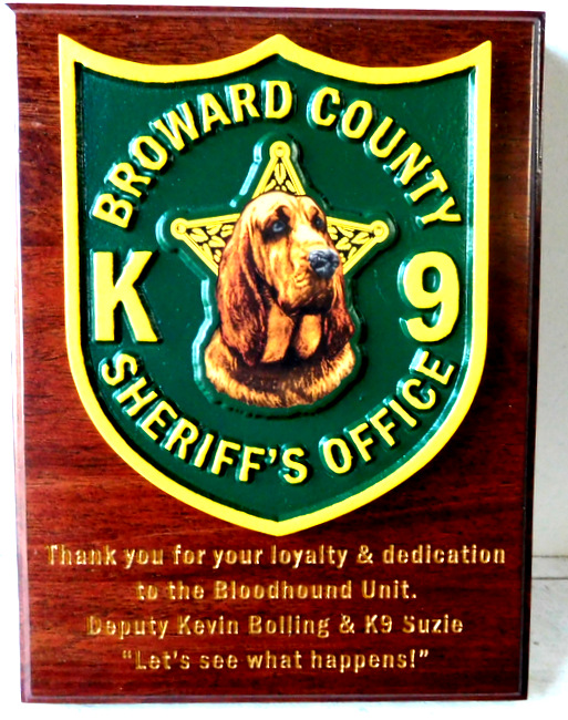 X33448 - Carved  Cedar Wall Plaque featuring the Badge of the of the  K-9 Unit  of the Broward County Sheriff's Office,