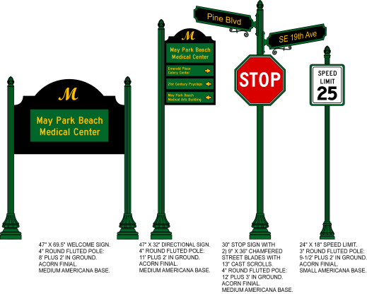 M4301 - Different Sign Configurations Using  Aluminum  Round SignPost with Americana Base and Acorn Finials