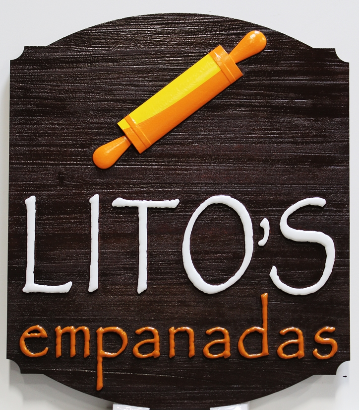 Q25806- Carved Cedar Wood Sign for Lito's Empanadas