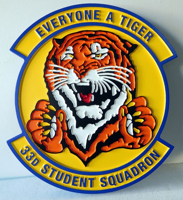 V31598 -  Carved Wall Plaque of Crest for the USAF 33rd Student Squadron