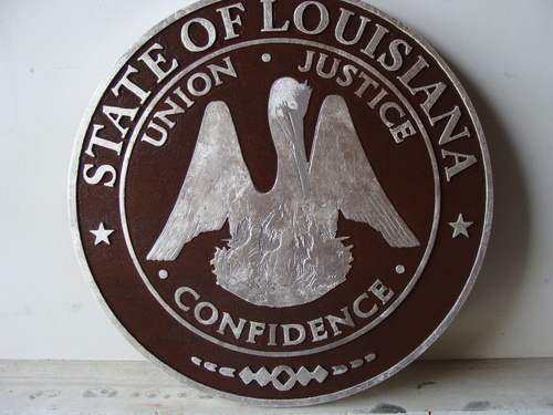 GP-1140 - Carved Plaque of the Seal of a State Court, Louisiana, Silver Gilded