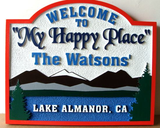 "M22336 - Carved and Sandblasted HDU Sign for ""My Happy Place"", with Mountains, Lake and Pines"