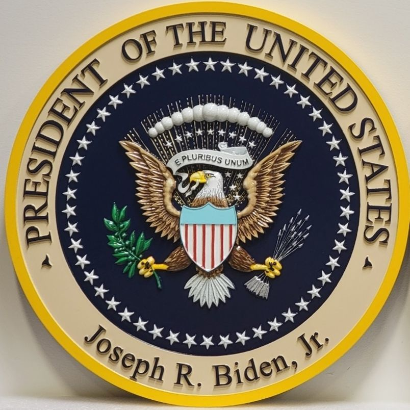 U30095 - Carved 3-D HDU Plaque of the Seal of the President of the United States, Personalized for Joe Biden