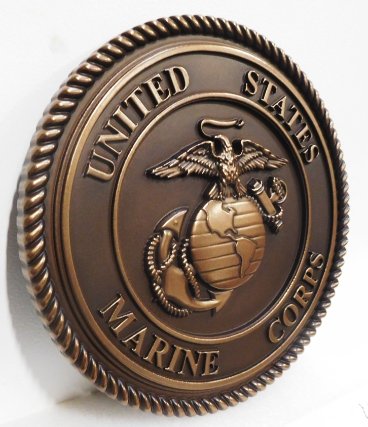 KP-1135  - Carved Plaque of the Emblem of the US Marine Corps, 3D  Bronze-Plated (Side View)