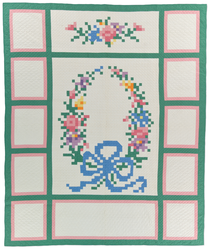 French Wreath, maker unknown, circa 1932, possibly made in Michigan, hand pieced, hand quilted, 92.5 x 77.5 inches, IQSCM 1997.007.0097. Ardis and Robert James Collection