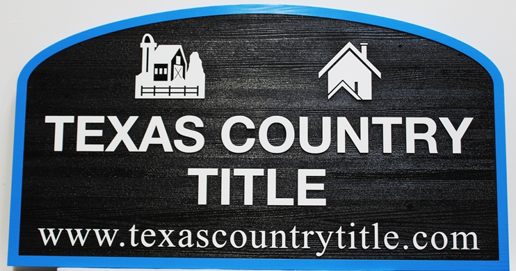 C12341 - Carved and Sandblasted Cedar Wood Sign for the Texas Country Title Company